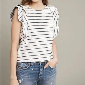 NWT Anthro Postmark Striped Flutter Sleeves Top